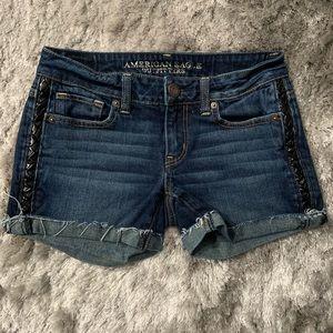 American Eagle Stretch Faux Leather Trim Shorts